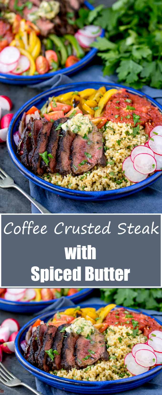 Coffee Crusted Steak Buddha Bowl with Spiced Butter. A real treat! Your questions answered - do I use fresh coffee grounds? Old grounds? Instant coffee?