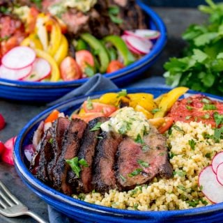 Coffee Crusted Steak Buddha Bowl with Spiced Butter