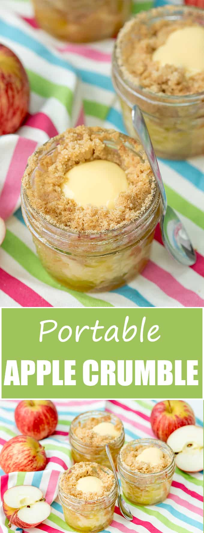 Portable Apple Crumble Jars - with a custard core!! Eat them hot or cold for a fab picnic treat!
