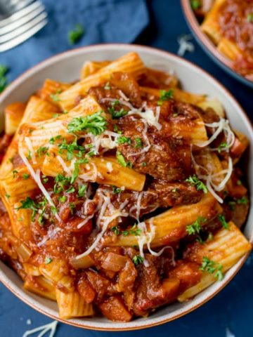 This Big Batch Beef Ragu with Pasta easily feeds 8 people. You can make the ragu ahead of time and reheat just before serving!
