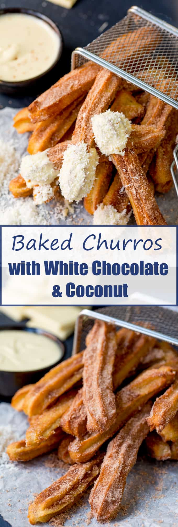 Baked Churros with White Chocolate and Coconut - festival food with an upgrade! The kids (and grown-ups) love them as a weekend treat!
