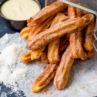 Baked Churros with White Chocolate and Coconut