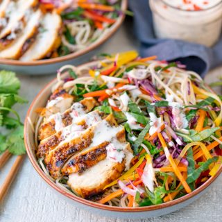 Chicken Noodle Rainbow Salad with Chilli Lime Dressing
