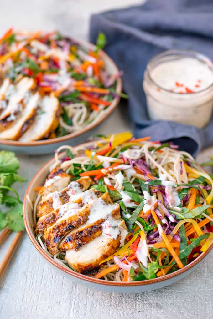 This Chicken Noodle Rainbow Salad with Chilli Lime Dressing is packed with nutritious ingredients. Totally delicious and satisfying!