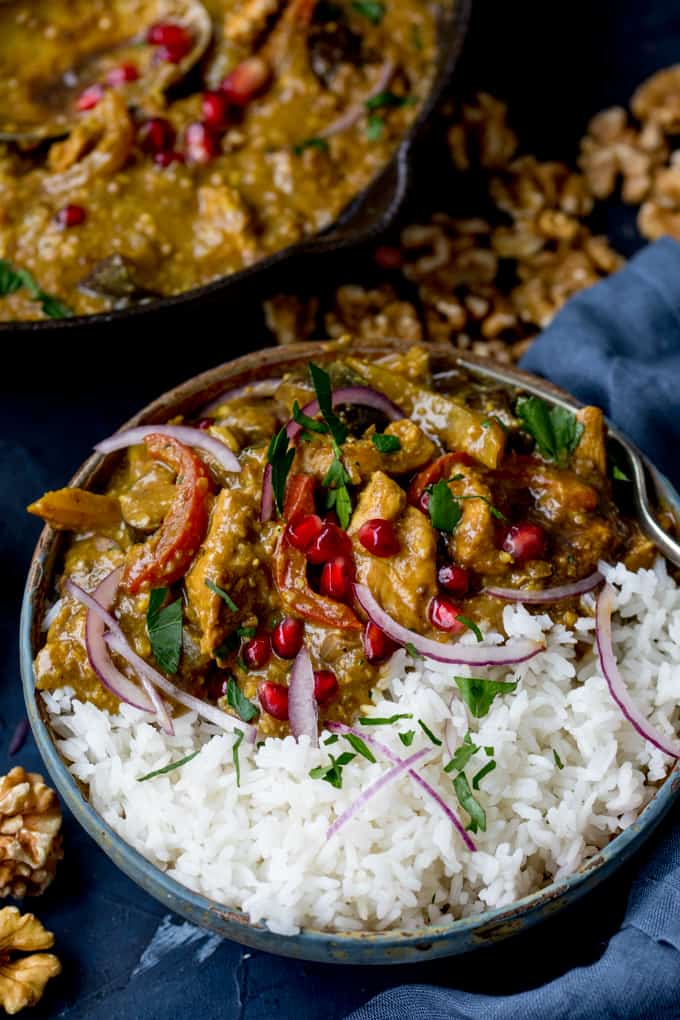 Persian Style Chicken Curry With Walnuts and Pomegranate - my take on Fesenjan stew - with added veggies! Gluten Free too!