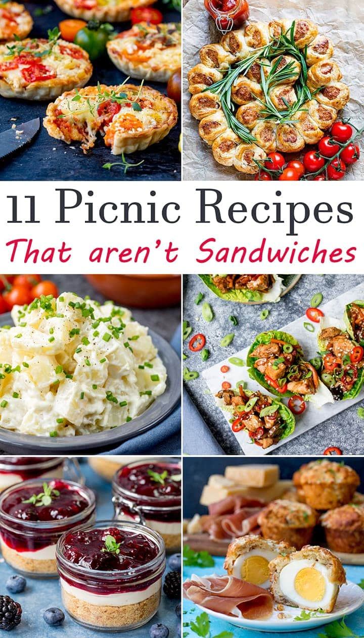 Collage of 6 images for picnic recipes
