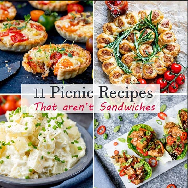 Collage of 4 images for picnic recipes