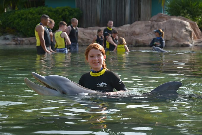 Gracey with a dolphin