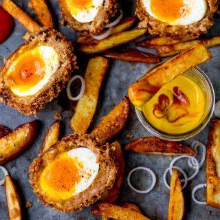 Chorizo Scotch Eggs with Smoky Wedges
