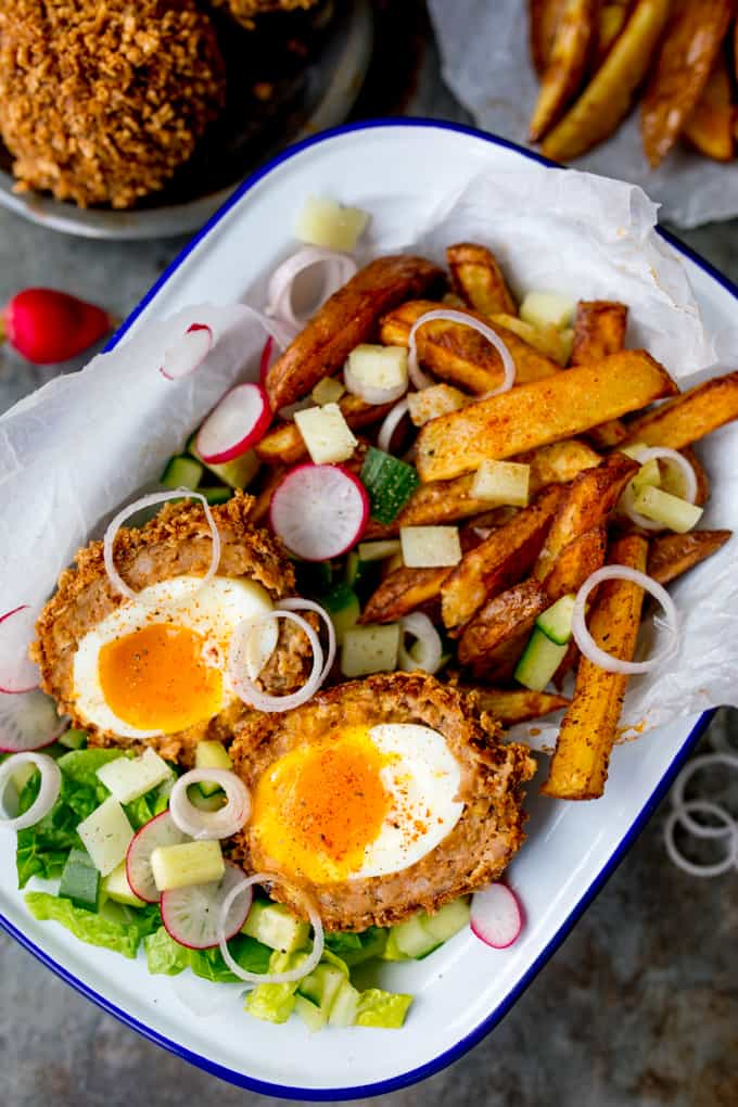 These Chorizo Scotch Eggs are epic! Crispy and smoky on the outside with a perfect runny-egg filling!