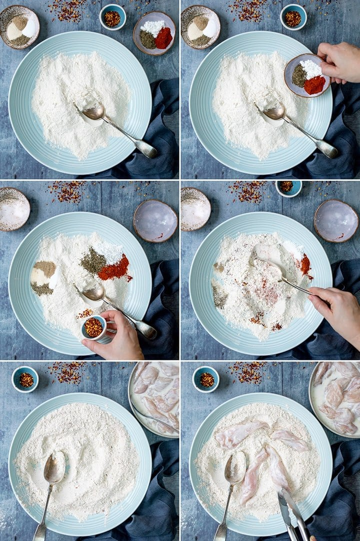 Collage Showing The Process Of Making Buttermilk Chicken