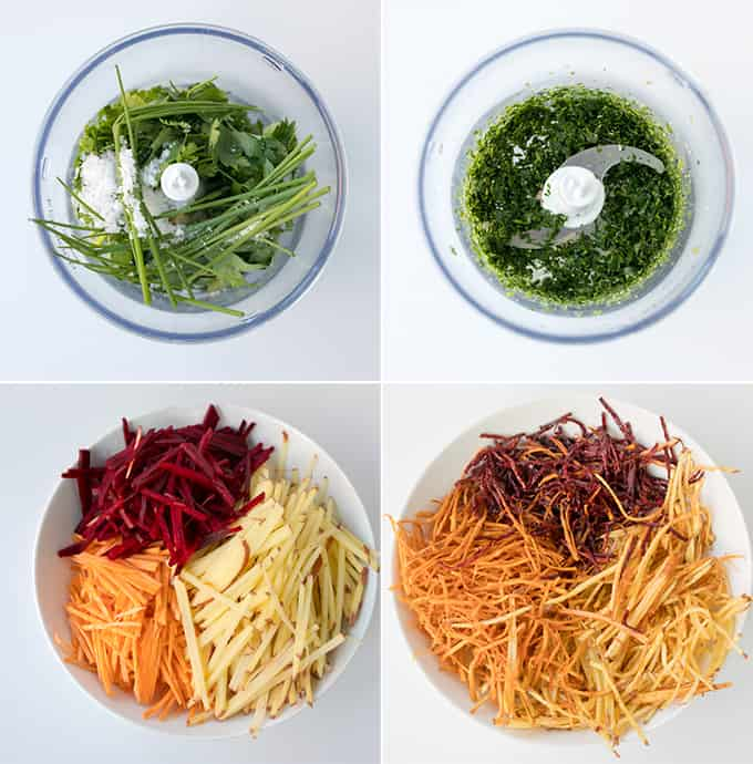These Vegetable Matchstick Fries with Homemade Herb Salt make a great, colourful snack. A nice change from regular fries!