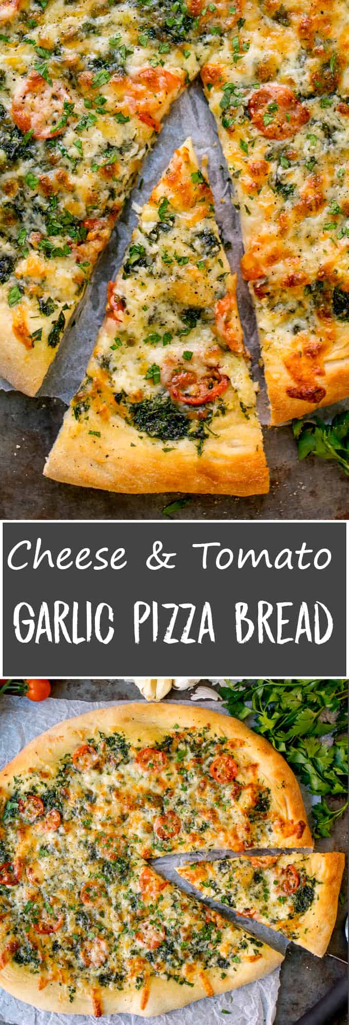 Homemade Cheese and Tomato Garlic Pizza Bread - a crisp dough with that perfect chewy interior, loaded with garlic, tomatoes and two types of cheese!