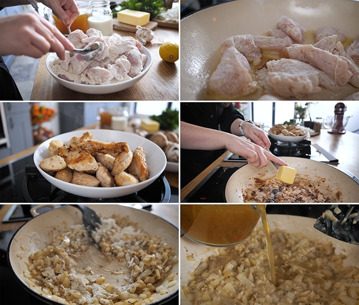 Collage of images for initial steps of making creamy chicken casserole including frying floured chicken, adding butter to pan, cooking onions with flour and adding stock to pan.