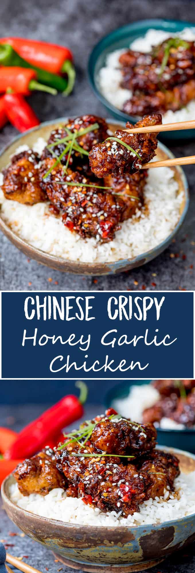 This Chinese Crispy Chicken with Honey Garlic Sauce is one of those meals everyone loves! Easy to make spicy or mild. Way tastier than takeout! #FriedChicken #Takeout #Recipe #ChineseFriedChicken