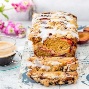 Plum Crumble Bread - with a crunchy, buttery streusel topping and almond icing drizzle! A delicious treat for brunch or afternoon tea!