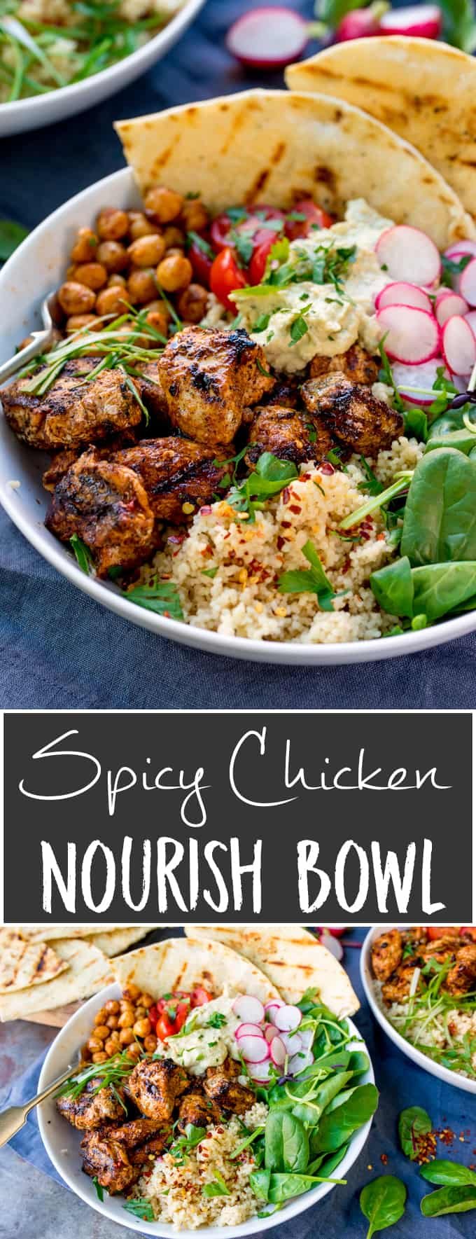 Spicy Chicken Nourish Bowl - A filling and nutritious warm salad, with middle eastern flavours -perfect for Fall. A healthier Autumn dinner.