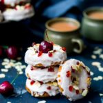 Cherry and Almond flavours come together perfectly in these baked cherry Bakewell doughnuts! #bakeddoughnut #bakeddonut #cherry #bakewell