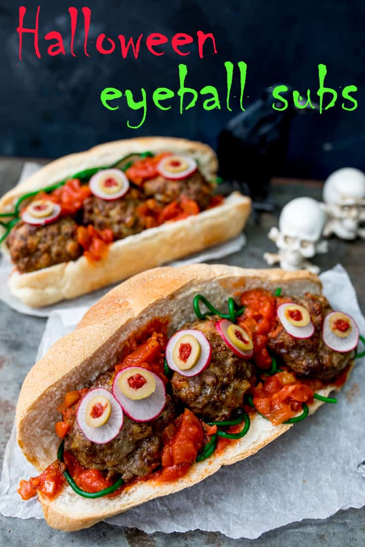 Juicy meatballs in a yummy tomato-based sauce - thisHalloween Eyeball Sub is spooky and it makes a delicious dinner! The kids will love it! #Halloween #Meatballs #HalloweebPartyFood