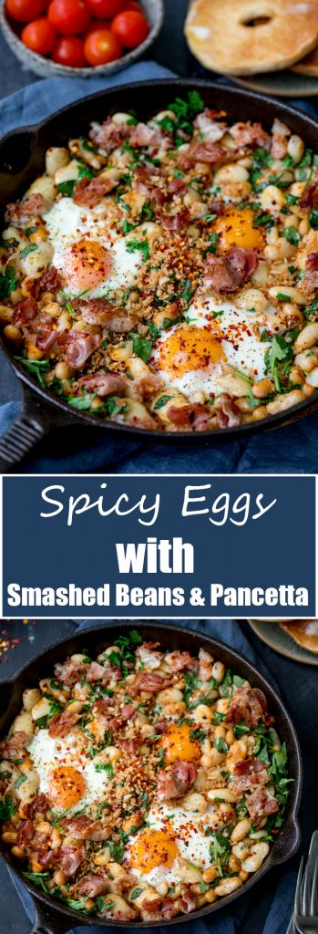 Spicy Egg Breakfast With Smashed Beans And Pancetta