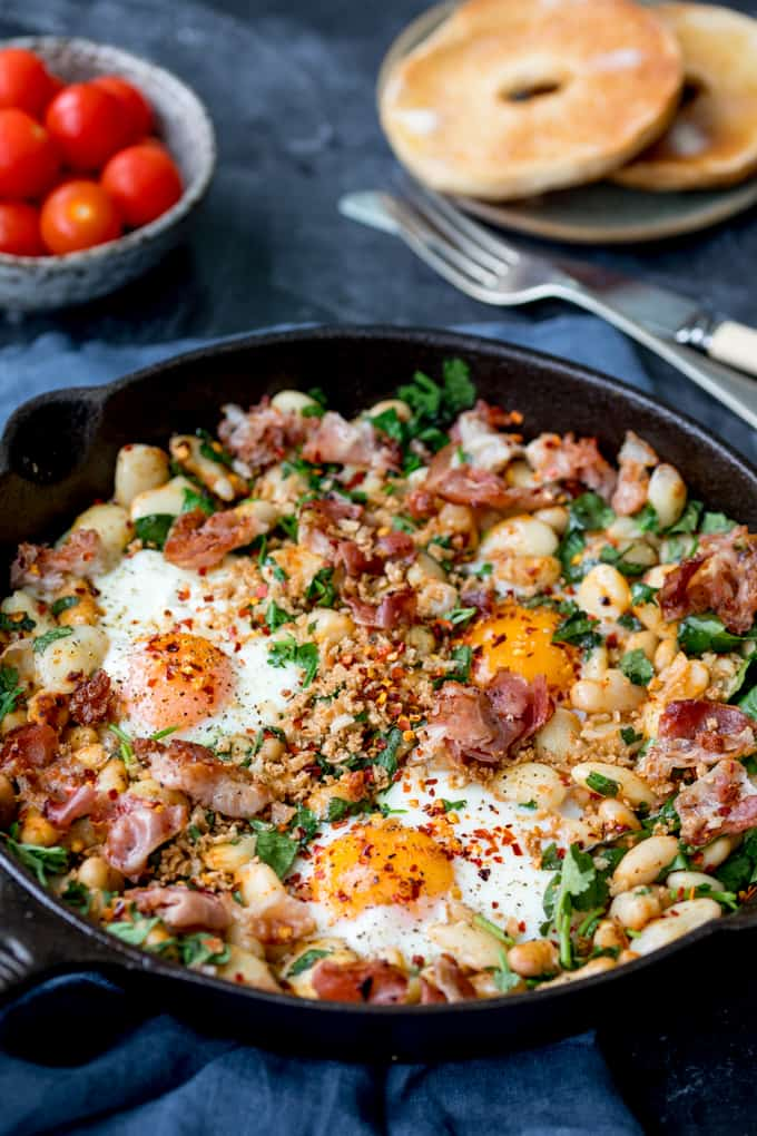 Close in photo of Spicy Egg Breakfast in a skillet