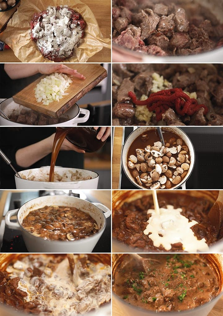 10 image collage showing how to make steak diane casserole