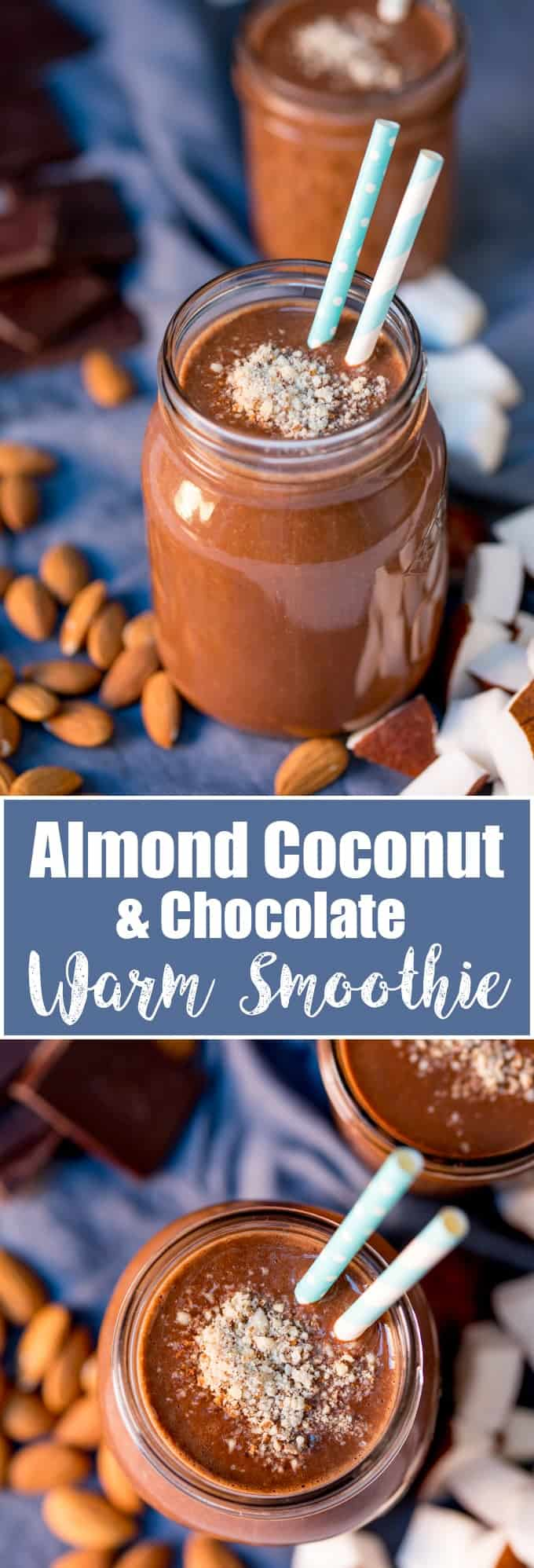 This Almond Coconut Warm Smoothie makes a lovely breakfast on a cold day! Lots of nutritious goodies in there to make you feel great! Gluten free too!