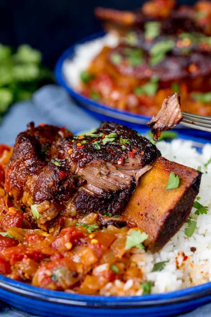Close up of Caramelized Slow Roast Asian Beef Short Ribs on a bed of rice and tomato sauce