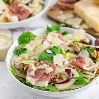 Fennel and Apple Winter Salad with Grana Padano and Prosciutto Di San Daniele
