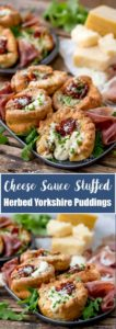 2 pictures of Herbed Yorkshire Pudding filled with cheese sauce