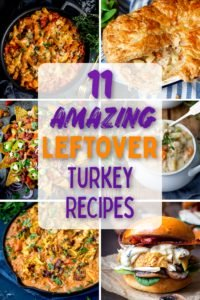 6 image collage of leftover turkey recipes