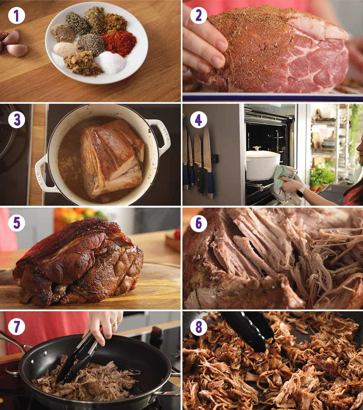 8 image collage showing how to make Pork Gyros