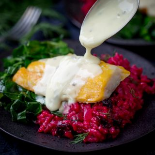 Saucy Fish Co. Smoked Haddock with Beetroot Risotto and Garlicky Greens