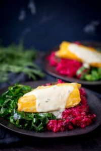 Smoked Haddock with Beetroot Risotto and Garlicky Greens - a colourful and balanced dinner that everyone will love. Full of flavour!!