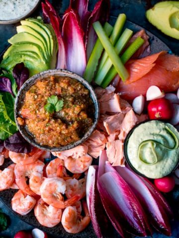 Party Season is almost upon us! This make-ahead Seafood Party Platter with three different dips is sure to go down a treat!