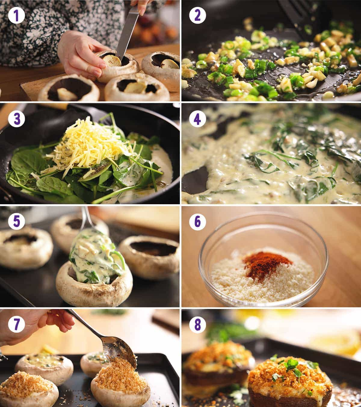 8 image collage showing how to make stuffed mushrooms