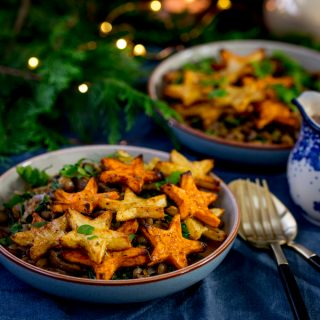 Festive Lentil and Mushroom Bowl with Star Potatoes + Video!