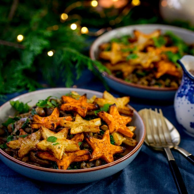 Festive Lentil and Mushroom Bowl with Star Potatoes