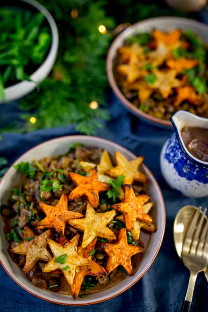Two Bowls Lentil and Mushroom with Star Potatoes