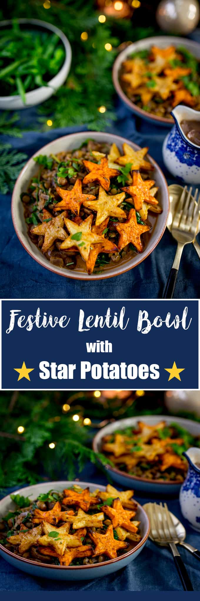My Lentil and Mushroom Bowl with Star Potatoes makes a great festive recipe! Plus a quick gravy recipe for the rest of the Christmas veg. All vegan too!