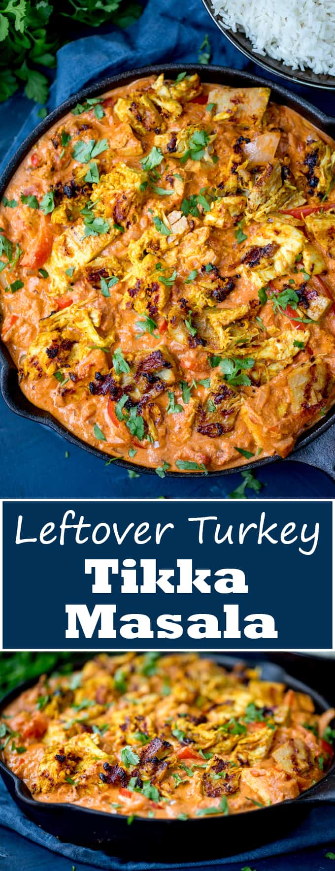 Use up that leftover turkey with this spicy-as-you-like Turkey Tikka Masala! Cream and delicious, it's on the kids and adults will enjoy. Gluten free too! #leftoverturkey #leftoverturkeyrecipe #glutenfreedinner #glutenfreecurry #boxingdaycurry