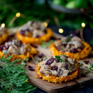 Vegetarian Christmas Dinner.Parsnip And Carrot Rostis With Mushrooms And Wensleydale
