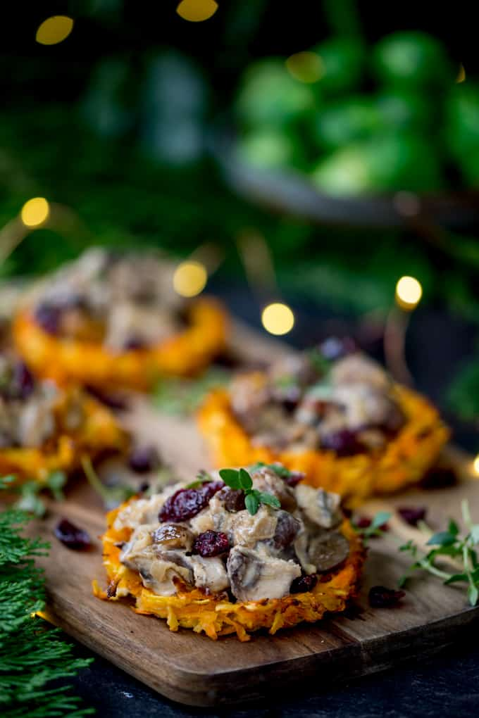 Parsnip and Carrot Rostis with Mushrooms and Wensleydale Sauce - a delicious Vegetarian Christmas dinner idea that isn't nut roast!