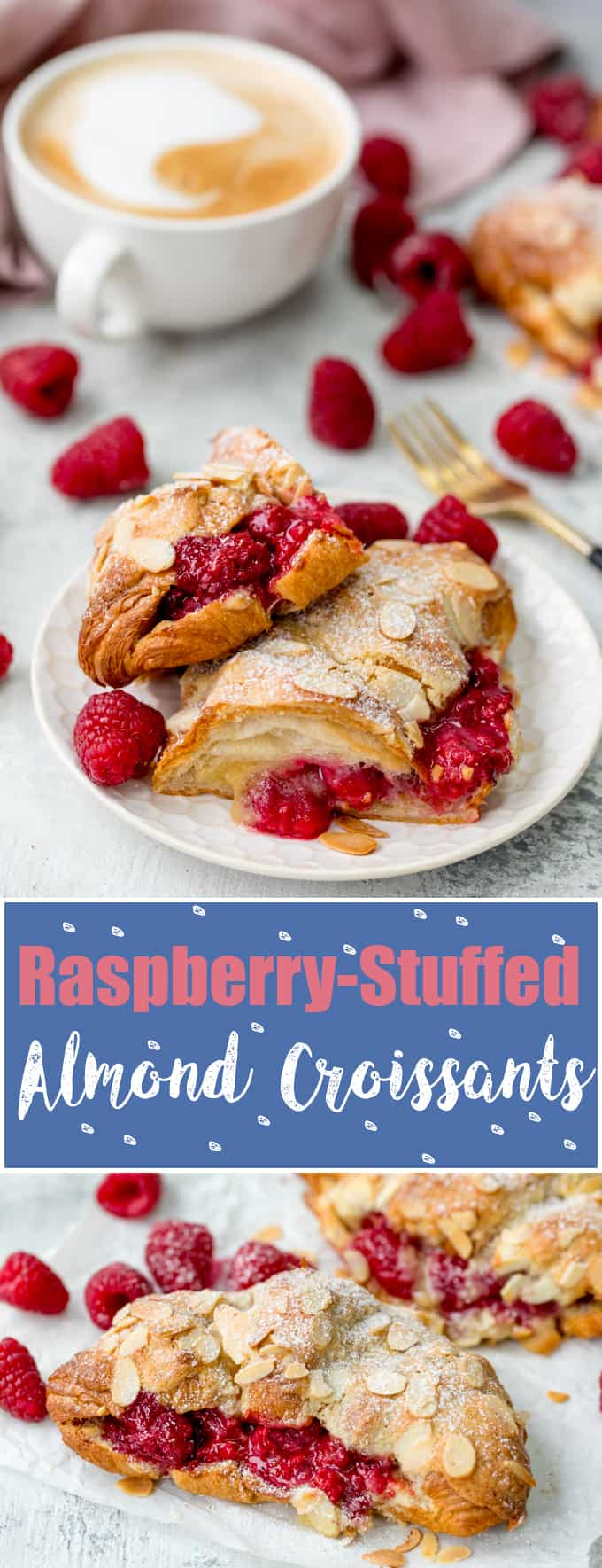 Looking for a breakfast treat? These Raspberry and Almond Croissants, filled and topped with frangipane are the best! A great Christmas breakfast! #almondcroissants #christmasbreakfast #mothersdaybreakfast #raspberrycroissant
