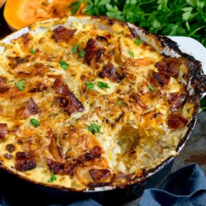 Squash and Potato Gratin with Bacon (and lots of cheese!) makes a great side dish, or even a main with a salad. Gluten free too!