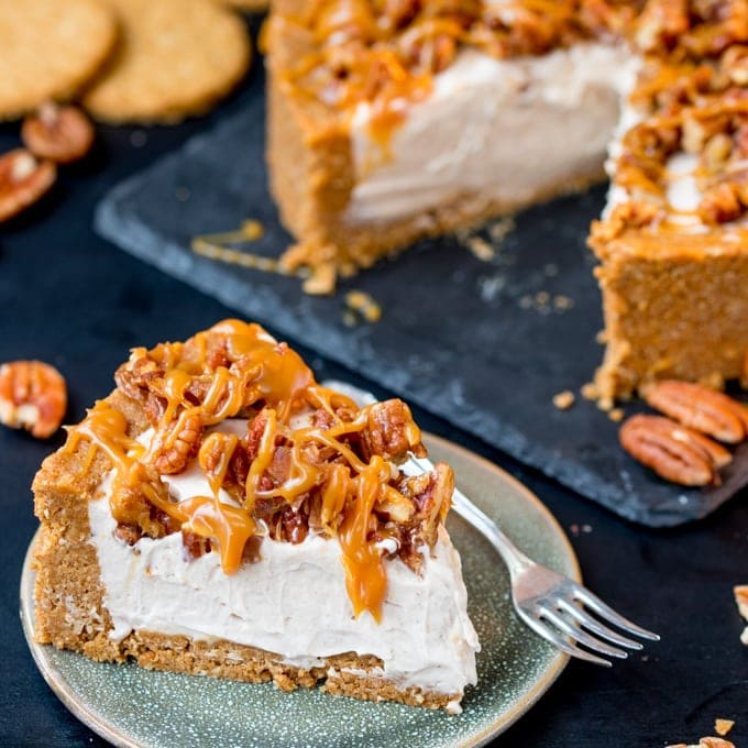 Winter Spiced Pecan Caramel Cheesecake – no bake and gluten free!