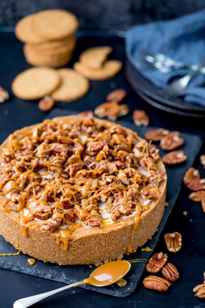This Winter Spiced Pecan Caramel Cheesecake is an ideal dish for a celebration party table! It's also make ahead, no bake and gluten free!