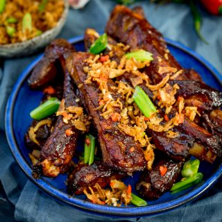 Oven Baked Asian Ribs with Crispy Onions
