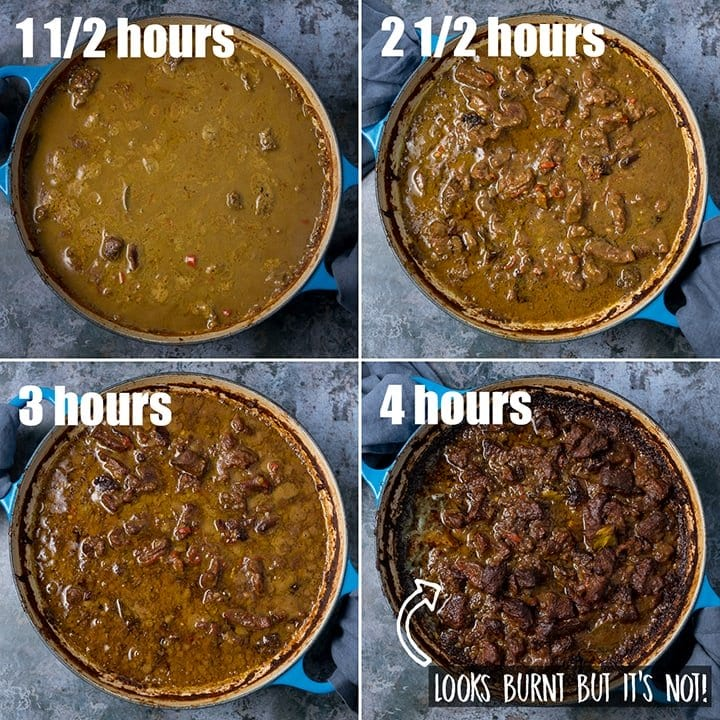4 image collage showing different stages of liquid reducing during cooking of beef rendang