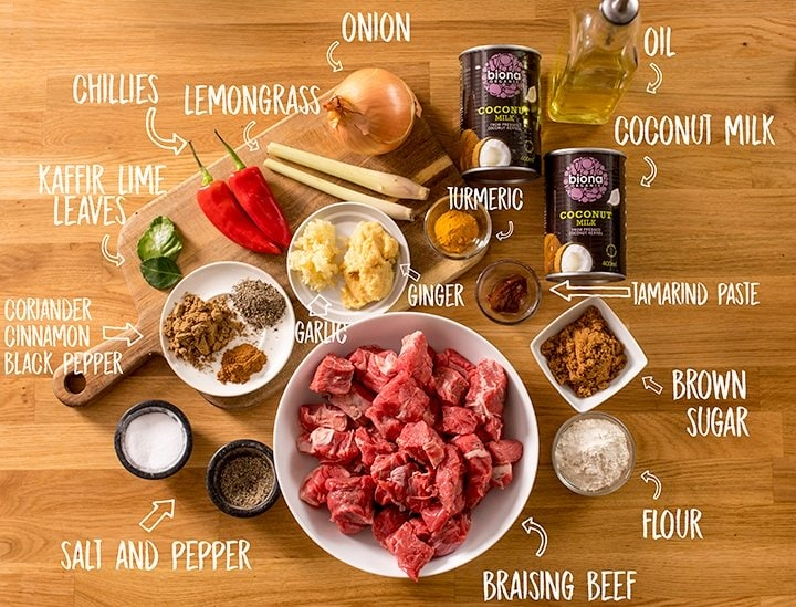 Ingredients for beef rendang on a wooden table